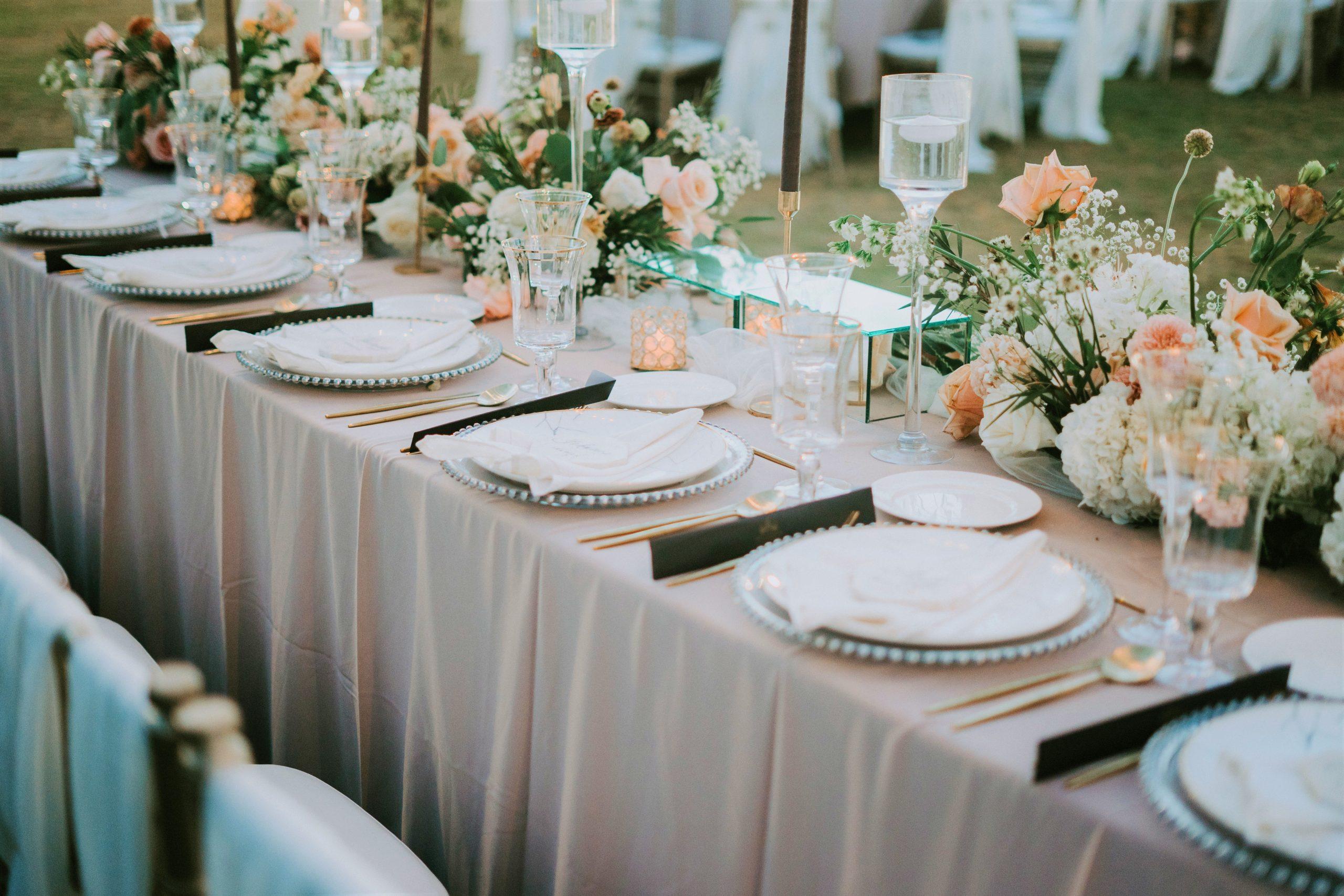 Gedecoreerde tafel evenementen en bruiloften